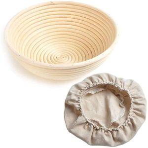 Gärkörbchen Brotform Rund 25 cm Peddigrohr Korb Gärkorb für 1,0 Kg Brot Teig Ausgelegt inkl. Leineneinsätze
