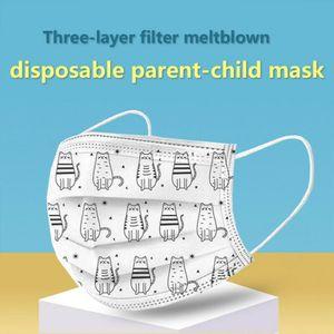 50 Stk Kinder Einwegmasken Cartoon Gesichtsmaske Einweg-3-lagige Mundmaske für Kinder