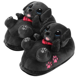 Corimori – Buddy der Labrador, Hunde Plüsch-Hausschuhe für Kinder und Erwachsene, EU Einheitsgröße 25 bis 33,5 (Schwarz)