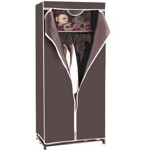COSTWAY Kleiderschrank Stoffschrank Textilschrank Garderobenschrank Faltschrank Waescheschrank Campingschrank mit Kleiderstange 75x50x170cm kaffeebraun