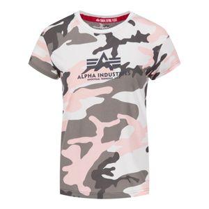 Alpha Industries New Camo Basic Damen T-Shirt, Farbe:Pink, Größe:L