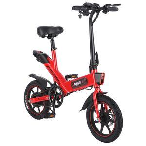 DOHIKER Y1 E-Bike Elektrofahrrad  350W 36V wasserdichtes Elektrofahrrad mit 14'' Rädern, 10Ah wiederaufladbare Batterie, drei Arbeitsmodi, LED-Scheinwerfer - rot