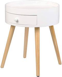 WOLTU TS111ws-1 Nachttisch Nachtschrank Beistelltisch Nachtkommode Sofatisch, mit Schublade, mit Beinen, Holz, MDF, Weiß