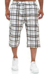 Herren Bermuda Cargo Shorts 3/4 Karo Hose Kariert Kurz Regular Fit Capri, Farben:Braun, Größe Shorts:XL