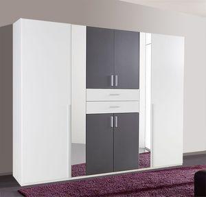 Kleiderschrank Schlafzimmerschrank Vanea 8-türig mit Spiegel weiß / graphit 270cm