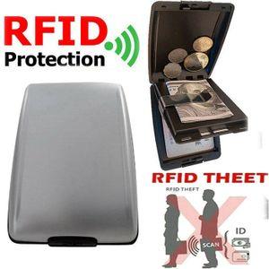 Miixia Geldbörse Aluminium Brieftasche Kreditkarten Etui RFID Schutz Dokument Storage Grau