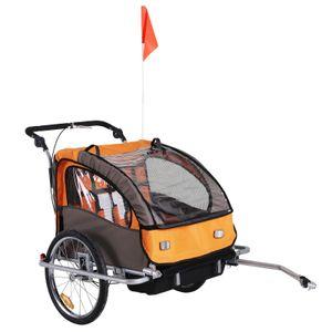 HOMCOM 360° Drehbar Kinderanhänger 2 in 1 Fahrradanhänger Jogger 5 Farben (Orange-Kaffee)