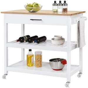 Yaheetech 2 Ebene Küchenwagen mit Rollen Rollwagen mit Tischplatte Aufbewahrungswagen mit Schublade Weiß