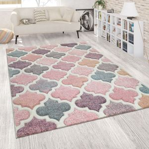 Orient Teppich Rosa Bunt Wohnzimmer Pastellfarben Marokkanisches Design Kurzflor, Grösse:160x230 cm