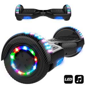 Hoverboard 6.5 Zoll-LED & Bluetooth - mit 350W*2 Motorbeleuchtung-für Kinder und Jugendliche, Self Balance Scooter Elektro Scooter carbon schwarz