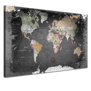 Leinwandbild - Weltkarte Graphit - in 100 x 70 cm, einteilig, , mit Korkrückwand, deutsch