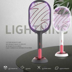 2 in1 Elektrische Fliegenklatsche, Wiederaufladbar Insektenvernichter Mückenklatsche