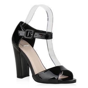 Mytrendshoe Damen Sandaletten High Heels Blockabsatz Party Absatzschuhe 831031, Farbe: Schwarz, Größe: 38