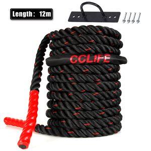 Schlachtseil Trainingsseil Sportseil Schlagseil 9m 15m Battle Ropes Schwungseil, Größe:12m schwarz-rote Seile. mit Halterung