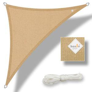 hanSe® Marken Sonnensegel HDPE Dreieck 3x4x4m Sand UV-Schutz Sonnenschutz Schattenspender