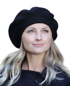 Baskenmütze aus Angora, Mütze:Schwarz