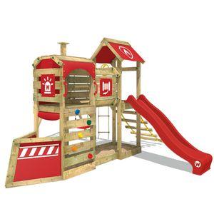 WICKEY Spielturm Klettergerüst SteamFlyer mit Schaukel & roter Rutsche, Baumhaus mit Sandkasten, Kletterleiter & Spiel-Zubehör