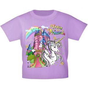 Kinder T-Shirt mit Print - Einhorn Schloß Zauber - 12430 versch. Farben Gr. 110-164 Größe - 122/128 Color - flieder