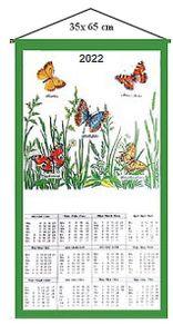 "Stoffkalender 2022 Wandkalender / Kalender "" Schmetterlinge "" 35x65 cm"