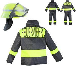Feuerwehr-Kostüm Kinder Feuerwehr-Mann Fasching Karneval Feuerwehr-Helm Kinder-Kostüm Gr. 6 104-110 Waschbar Polyester