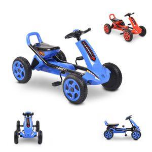 Moni Kinder Gokart Drift Tretauto Kunststoffreifen, ab 3 Jahren, Hinterradbremse blau