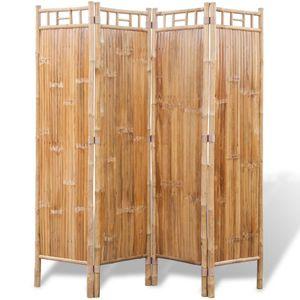 dereoir Bambus Raumteiler Paravent 4-teilig