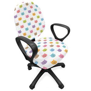 ABAKUHAUS Katze Bürostuhl Schonbezug, Bunte Gesichter Kinder Kinderzimmer, dekorative Schutzhülle aus Stretchgewebe, Mehrfarbig