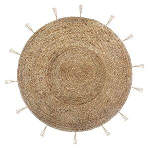 Deko-Teppich aus Jute, Ø 80 cm, rund mit Fransen - Atmosphera