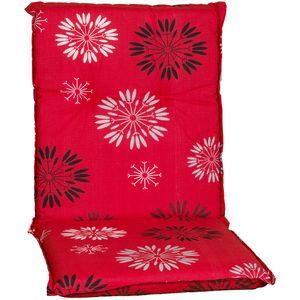Gartenstuhl-Auflage Barcelona – Niedriglehnerauflage für Gartenstühle, Dessin:Red Flower, Anzahl:4er Set