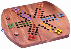 Ludo für 6 Spieler - Spielfeld 33 x 28 cm - Würfelspiel - Gesellschaftsspiel - Familienspiel aus Holz mit zusammenklappbarem Spielbrett