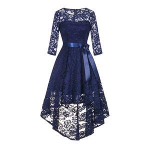 Elegantes Spitzenkleid für Damen mit langen Ärmeln Cocktailkleid mit hohem und niedrigem Saum Größe:XXL,Farbe:Navy