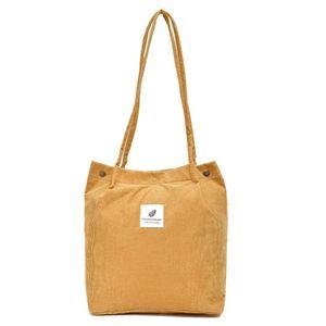 Damen Cord Shopper Tasche in Beige, Große Umhängetasche, Schultertasche, Handtasche, Tragetasche - Beige