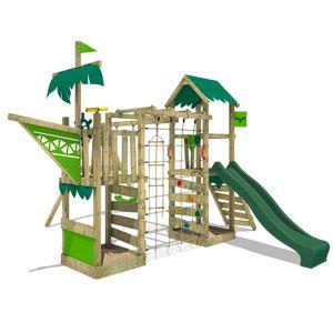 FATMOOSE Spielturm Klettergerüst WaterWorld mit Schaukel & grüner Rutsche, Spielhaus mit Sandkasten, Leiter & Spiel-Zubehör