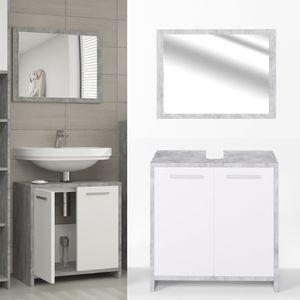 Vicco Badmöbel Set KIKO Weiß / Grau Beton - Badezimmer Spiegel Waschtisch Unterschrank Bad Badschrank
