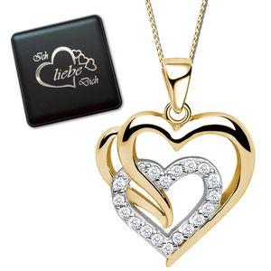 Damenkette  Herz echt 925 Sterling Silber Halskette mit Anhänger  Bicolor Damen Frauen Kette K821+V8+42cm
