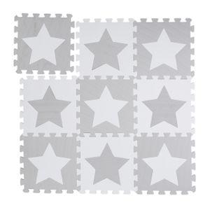 relaxdays 9 x Puzzlematte Sterne grau Spielmatte Krabbelmatte Puzzleteppich Kindermatte