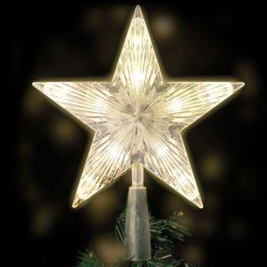 Miixia LED Weihnachtsbaum Spitze Stern Christbaumspitze Tannenbaum Warmweiß Beleuchtet Weihnachtsbaumdeko Christbaumschmuck Aufhängen 18x22 CM