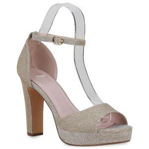 Mytrendshoe Damen Sandaletten High Heels Blockabsatz Party 834628, Farbe: Gold, Größe: 36