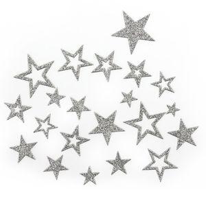 Oblique Unique 20 Glitzernde Funkelnde Sterne Sticker Aufkleber - silber