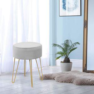 COSTWAY Samthocker mit Metallbeinen, moderner runder Schminkhocker, Polsterhocker bis 100kg belastbar, Fußhocker, Sitzhocker geeignet für Schlafzimmer und Wohnzimmer Grau
