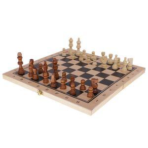 3 In 1 Holzstücke Klappbrett Schachspiel Entwürfe Backgammon Spiel Spielzeug M  Mehrfarbig