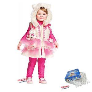 Mädchen Katzen-Kostüm pink 50605 Größe 1 Kinder Faschingskostüm mit Weste Kapuze