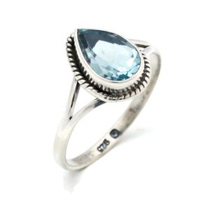 Blau Topas Ring 925 Silber Sterlingsilber Damenring blau (MRI 113-62),  Ringgröße:52 mm / Ø 16.6 mm