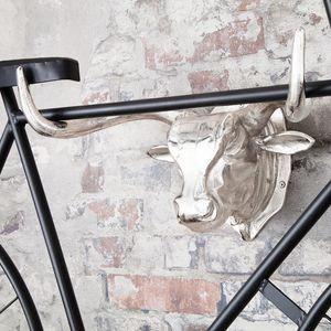 Design Wand Fahrradhalter Stierkopf 47cm Fahrradaufhänger Wandmontage Wanddekoration Halter Wandhalterung für Fahrräder