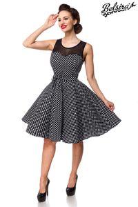 Retro Vintage Kleid mit Netzeinsatz, Farbe: Schwarz/Weiß, Größe: 4XL