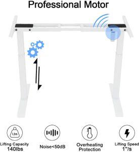höhenverstellbares Tischgestell,Höhenverstellbarer Schreibtisch 2 Motor elektrisch  2-Fach-Teleskop passt für alle gängigen Tischplatten. Max.120 kg  Home Smart Office