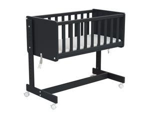 Beistellbett 5in1 mit Rollen, Gitterbett, Stubenwagen, umbaubares Babybett aus Holz mit Matratze - graphit
