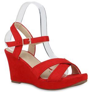 Mytrendshoe Damen Sandaletten Keilsandaletten Plateau Keilabsatz Schuhe 830355, Farbe: Rot, Größe: 39