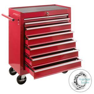 AREBOS Werkstattwagen Werkzeugwagen Werkzeug Rollwagen 7 Fächer Rot