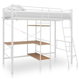 vidaXL Etagenbett mit Tischrahmen Weiß Metall 90x200 cm